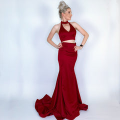Red Two Piece Prom Pageant Dress