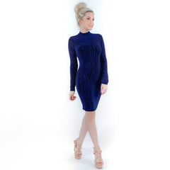 Blue Long Sleeve Sparkly Fitted Mini Dress