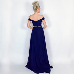 Blue Off Shoulder Prom Dress