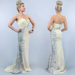 Cream Strapless Silver Beaded Pageant Evening Gown