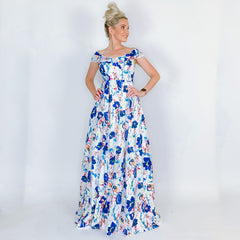 Floral Off Shoulder Prom Dress
