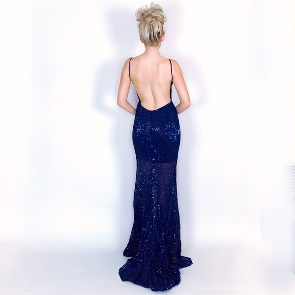 Blue Navy Sequin Open Back Prom Pageant Dress