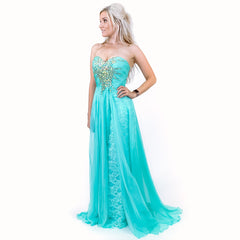 Mint Green Pageant Dress with Overlay Train