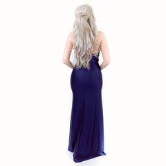 Navy Blue Fitted Evening Gown, Pageant Evening Gown, Prom Dress, Military Ball Dress