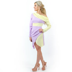 Lilac Purple Off Shoulder Contemporary Dress