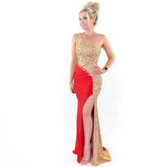Red Illusion Beaded One Shoulder Evening Gown Prom Dress Military Ball Pageant Evening Gown Formal Dress
