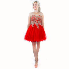 Red Strapless Fit Flare Homecoming Party Dress Pageant Appearance Cocktail Dress