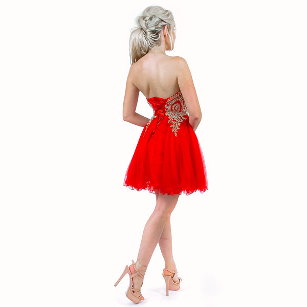 Red Strapless Fit Flare Homecoming Party Dress