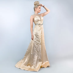 Rose Gold Illusion Beaded Pageant Gown Prom Dress