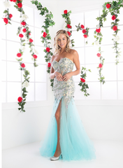 Blue Strapless Mermaid Prom Pageant Dress with Slit