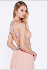 Open Back Evening Gown Dress with Side Slit