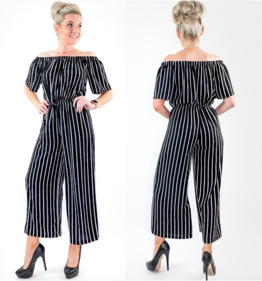 Off Shoulder Black White Stripe Jumpsuit