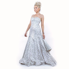 A-line Silver Metallic Couture Evening Gown Pageant Dress Wedding Dress Tiered Ball Gown by Andrea & Leo Couture