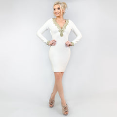 White Knit Bodycon Dress Miss Circle