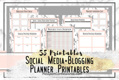 Blog Planner Printables Pink White Marble Print