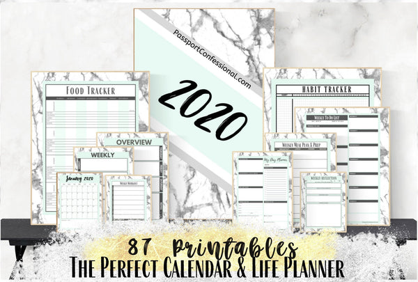 Bullet Journal, Calendar, Goal, Life Planner in Mint Green Marble Print