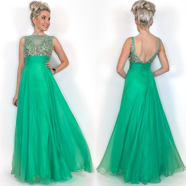 ade Green Beaded Long Prom Dress