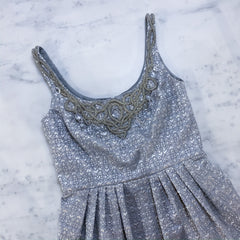 Carmen Marc Valdo silver metallic cocktail dress