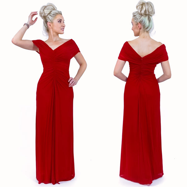 Red Sweatheart Off the Shoulder Long Formal Evening Gown Classy Formal Dress