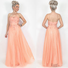 Peach Strapless Prom Dress