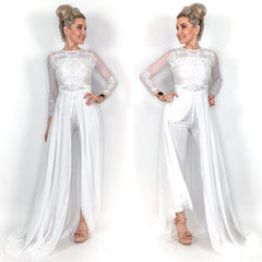 Wedding Pants Jumpsuit with Skirt Train
