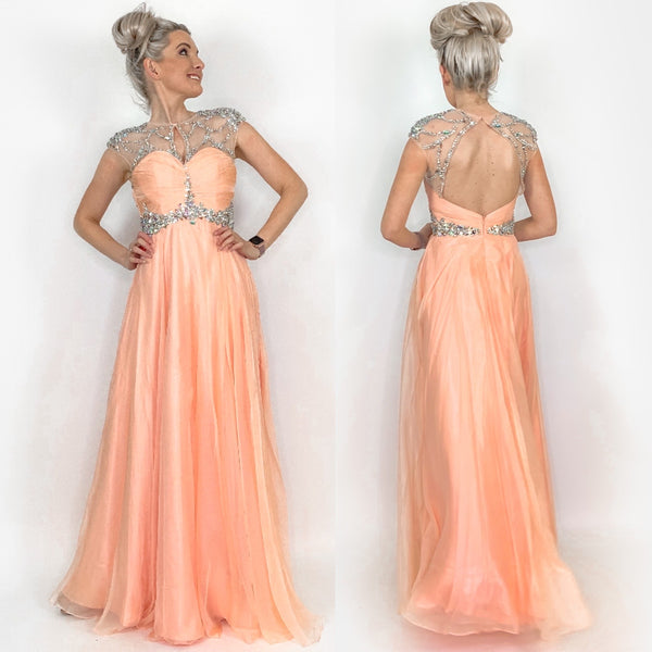 Peach Illusion Rhinestone Prom Pageant Dress