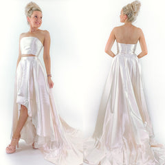 Two Piece Wedding Prom Dress with Highlow Train