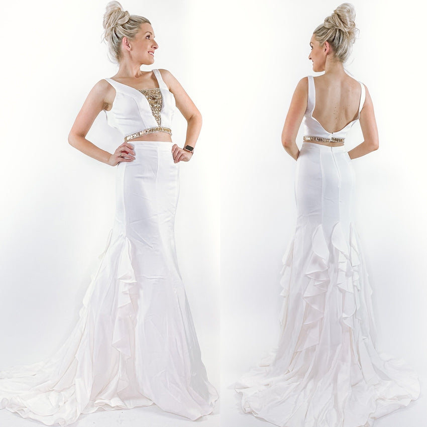 White Two-Piece Mermaid Prom Pageant Wedding Dress