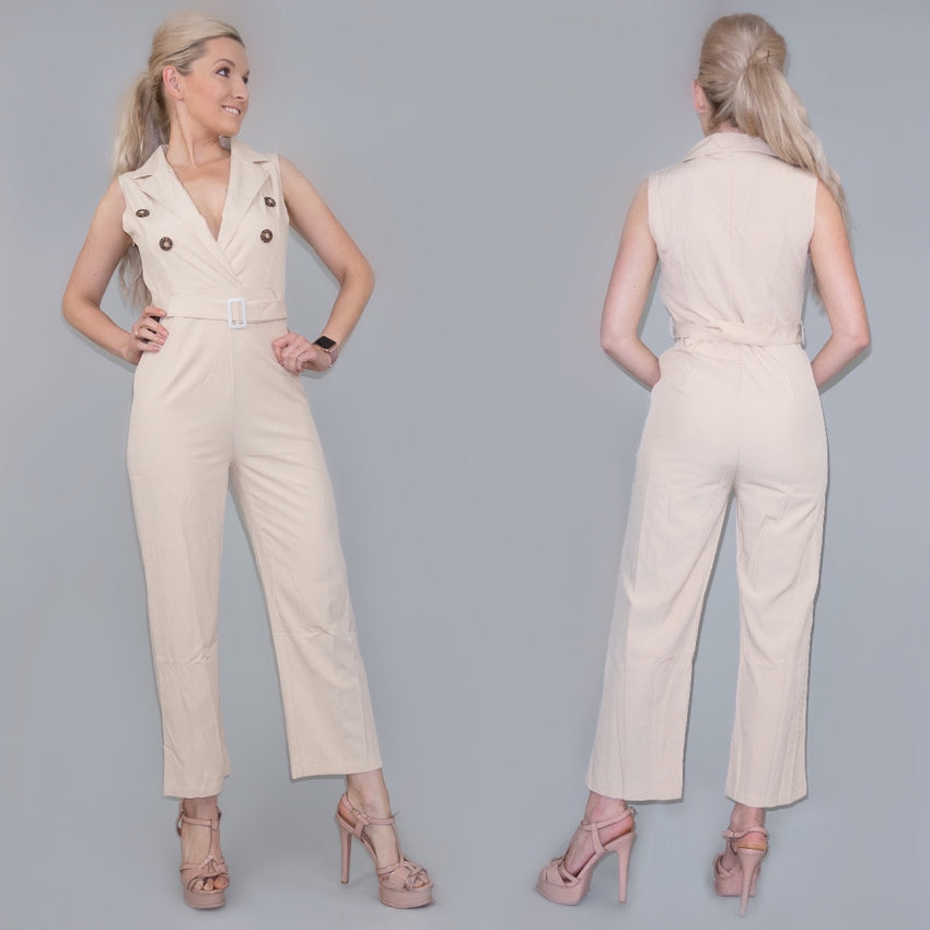 Khaki Tailored Cropped Pants Jumpsuit