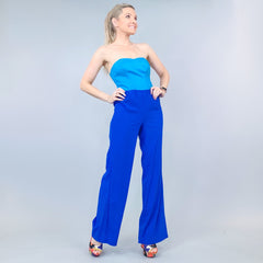 Blue Color Block Pants Jumpsuit