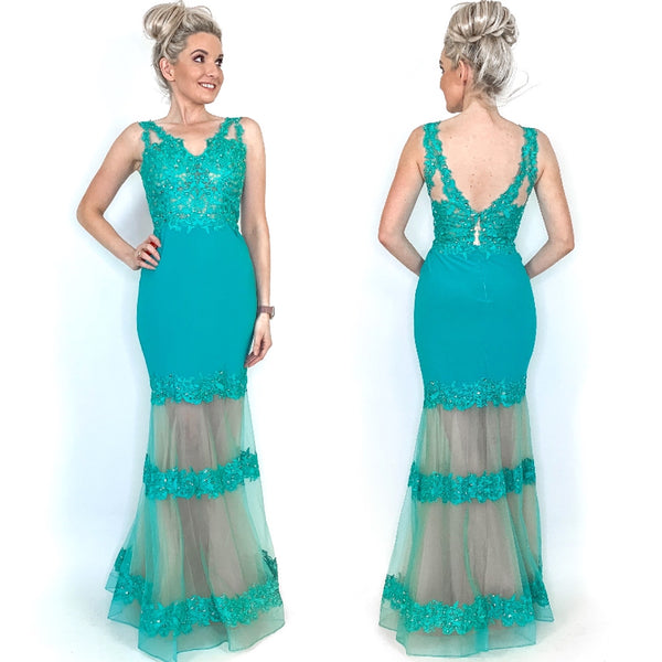 Jade Long Illusion Prom Pageant Dress