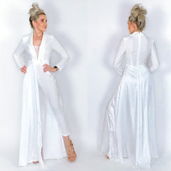 White Long Sleeve Couture Pants Jumpsuit with Overlay Skirt