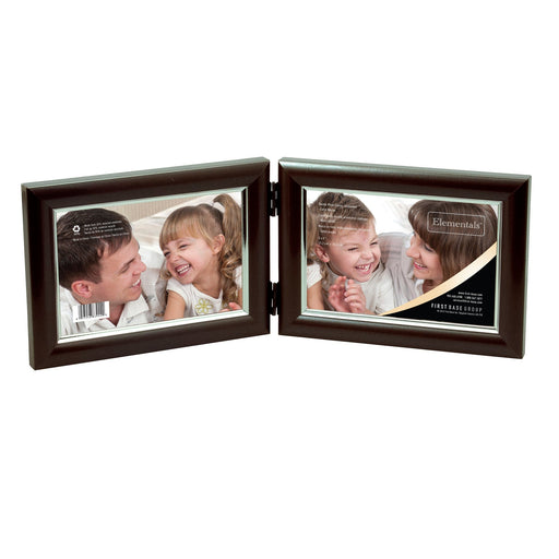 "Elementals™ Dual Display Easy Insert Photo Frames 6"" x 4"", Satin Mocha"