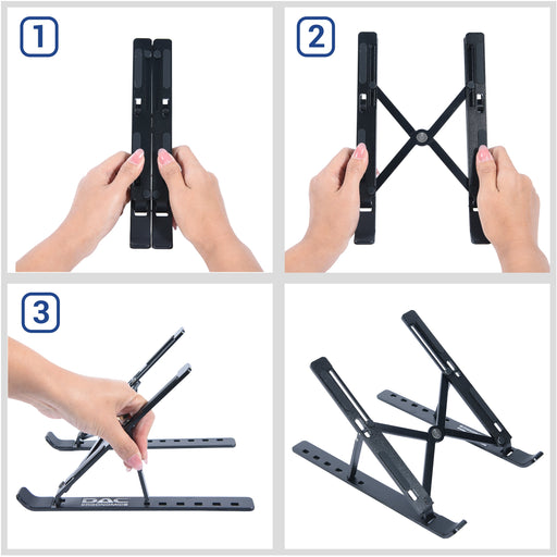 DAC® MP-222 Portable and Adjustable Laptop/Tablet Stand, Black