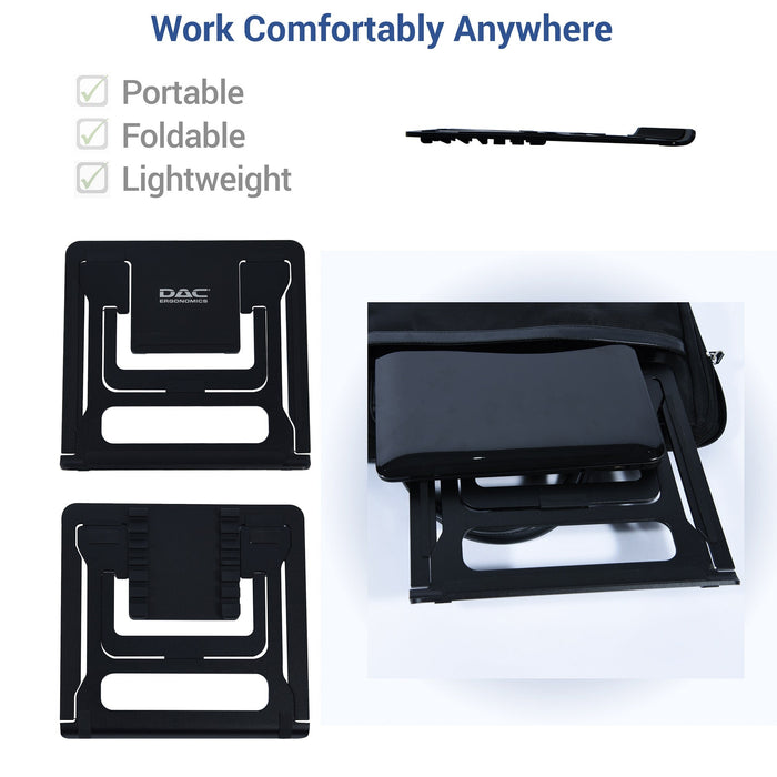 DAC® MP-224 Portable Laptop Stand With 6 Height Levels, Black