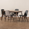Baxton Studio Embrace Mid-Century Modern Dark Grey Fabric Upholstered Walnut Wood Finished 5-Piece Dining Set