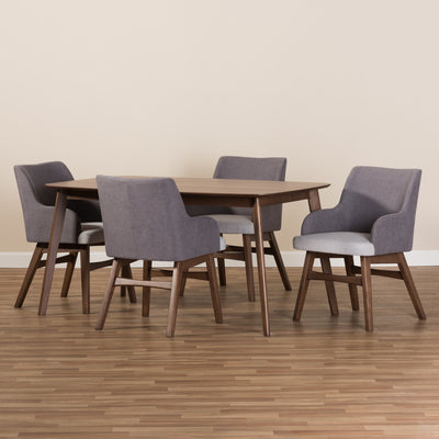 Baxton Studio Monte Mid-Century Modern Walnut Wood Rectangular 5-Piece Dining Set