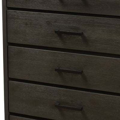 Baxton Studio Parris Rustic Grey Wood and Black Metal 5-Drawer Chest