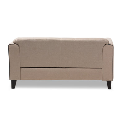 Baxton Studio Lottie Modern and Contemporary Beige Fabric Button-Tufted 2-Seater Loveseat