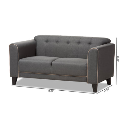 Baxton Studio Lottie Modern and Contemporary Grey Fabric Button-Tufted 2-Seater Loveseat