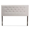 Baxton Studio Windsor Modern and Contemporary Greyish Beige Fabric Upholstered Headboard