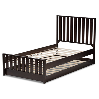 Baxton Studio Harlan Modern Classic Mission Style Dark Brown-Finished Wood Twin Platform Bed with Trundle