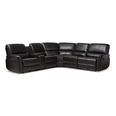 Baxton Studio Amaris Modern and Contemporary Black Bonded Leather 5-Piece Power Reclining Sectional Sofa with USB Ports