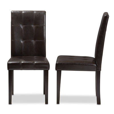 Baxton Studio Avery Modern and Contemporary Dark Brown Faux Leather Upholstered Dining Chair (Set of 2)