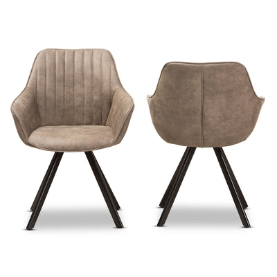 Baxton Studio Blanford Mid-Century Modern Light Brown Fabric Upholstered Dining Chair (Set of 2)