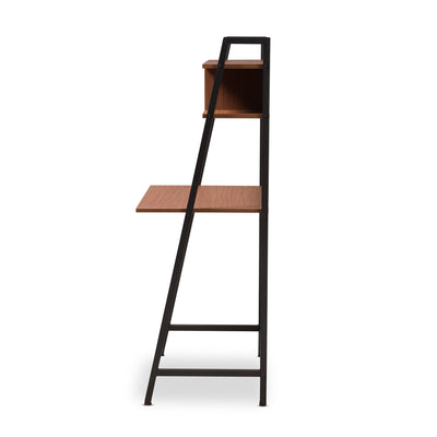 Baxton Studio Ethan Rustic Industrial Style Brown Wood and Metal Desk