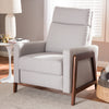 Baxton Studio Halstein Mid-century Modern Light Grey Fabric Upholstered Lounge Chair