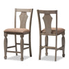 "Baxton Studio Arianna Shabby Chic Country Cottage Weathered Grey Finishing Wood and ""Wheat"" Brown Fabric Upholstered Counter Stool (Set of 2)"