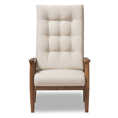 Baxton Studio Roxy Mid-Century Modern Walnut Brown Finish Wood and Light Beige Fabric Upholstered Button-Tufted High-Back Chair