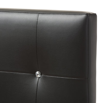 Baxton Studio Kirchem Modern and Contemporary Black Faux Leather Upholstered Twin Size Headboard